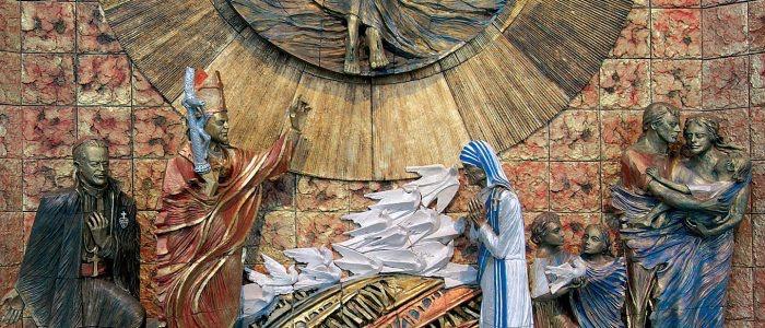 nuovo santuario, pala della risurrezione ceramica Di Simone