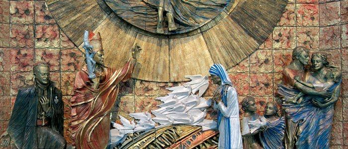 nuovo santuario, pala della risurrezione, ceramica Di Simone